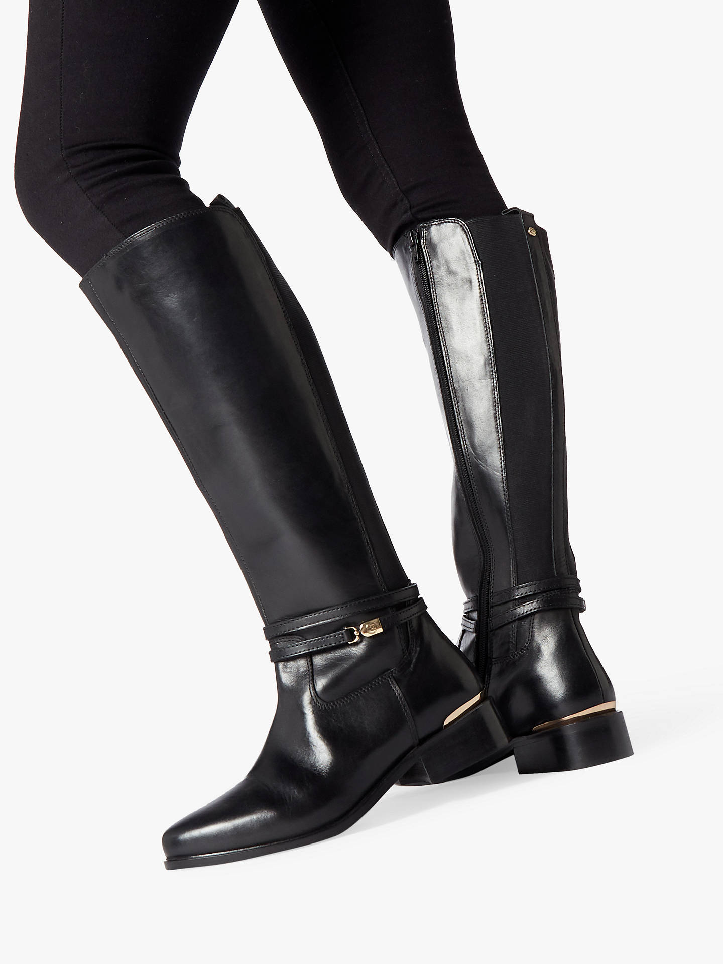 8e86d9144cc3 Buy Dune Wide Fit Traviss Knee Boots, Black Leather, 8 Online at johnlewis.