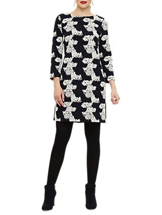 Phase Eight Frangelica Floral Jacquard Dress, Navy/Ivory
