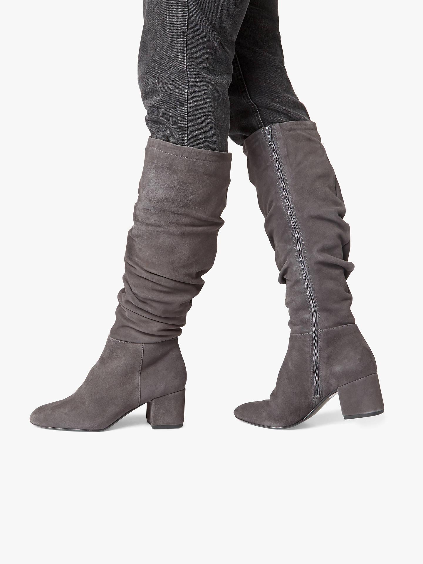 16ca1b21efe Dune Sarento Ruched Knee High Boots, Grey Suede