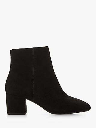 Dune Wide Fit Olyvea Block Heeled Ankle Boots, Black Suede