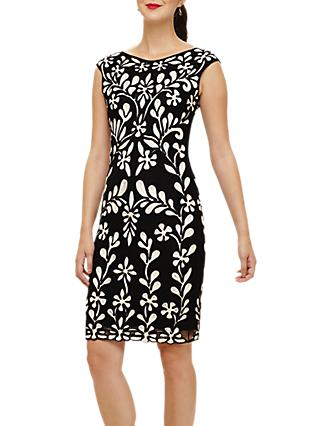 Phase Eight Emelia Tapework Dress, Black/Multi