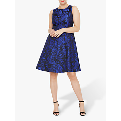 Studio 8 Loren Floral Jacquard Print Dress, Black/Metallic Blue