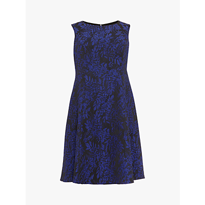 Studio 8 Loren Floral Jacquard Print Dress, Black/Metallic Blue
