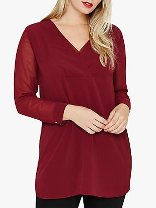 Studio 8 Katherina Sheer Sleeve Top, Mid Red