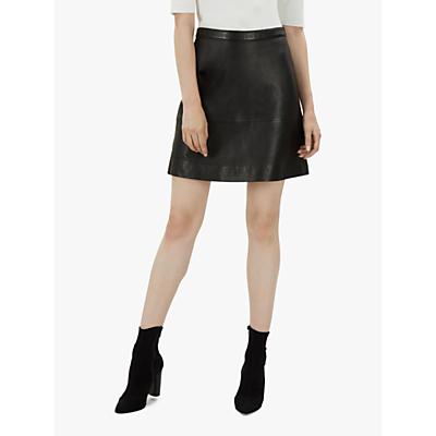 Jaeger A-Line Mini Leather Skirt, Black