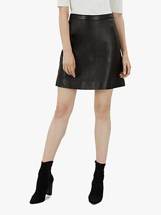 Jaeger A-Line Mini Leather Skirt, Black