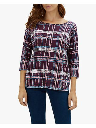 Jaeger Graphic Check Batwing Sleeve Jersey Top, Plum
