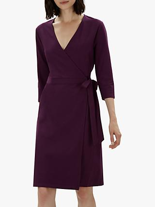 Jaeger Jersey Wrap Dress, Plum