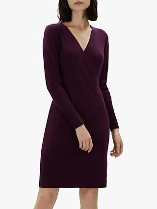 Jaeger Rib Detail Wrap Over Wool Dress