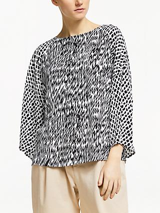 Kin Miroku Tie Back Top, Black/White