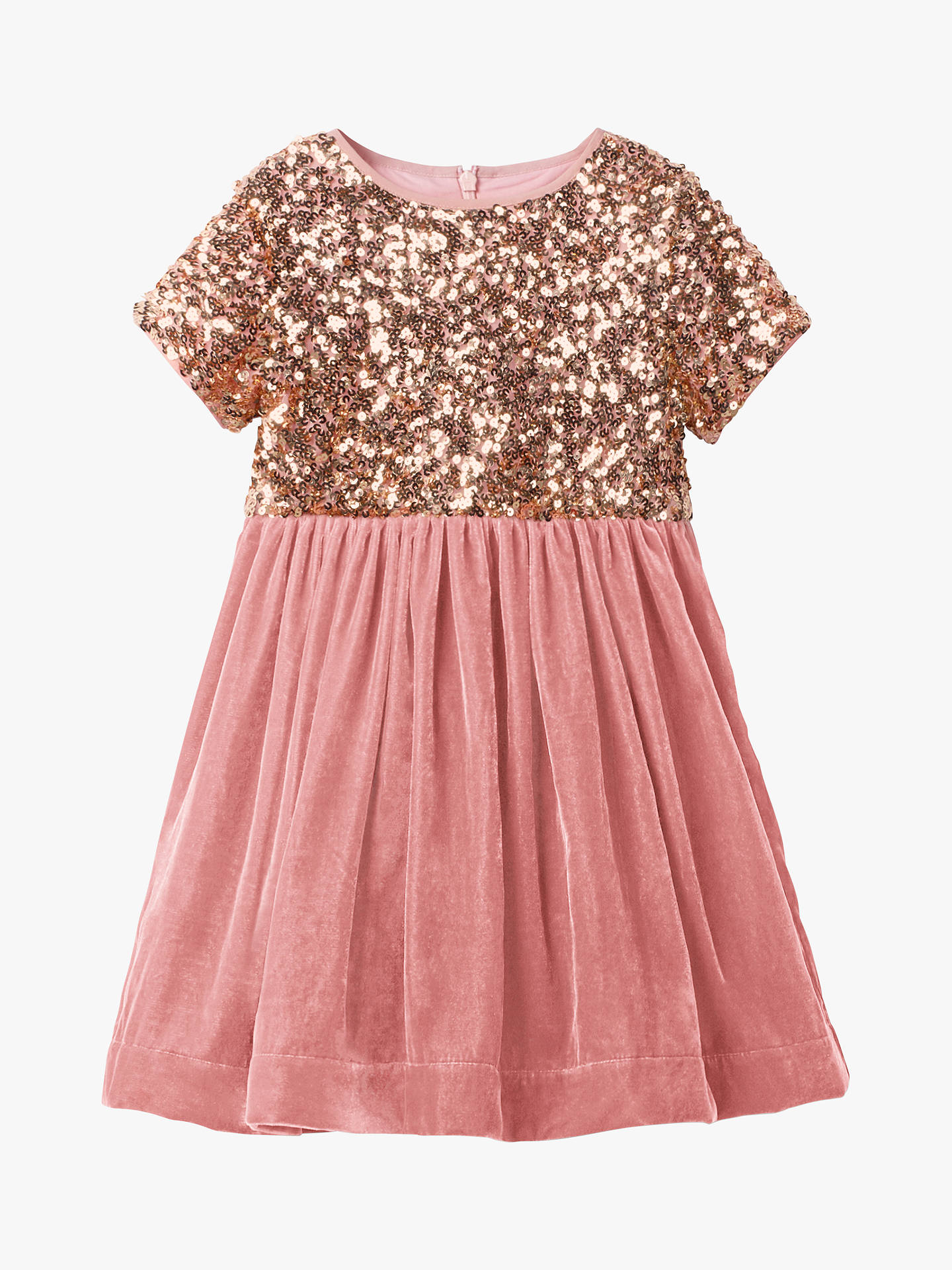 Mini Boden Girls Velvet Sequin Party Dress Vintage Pink At John