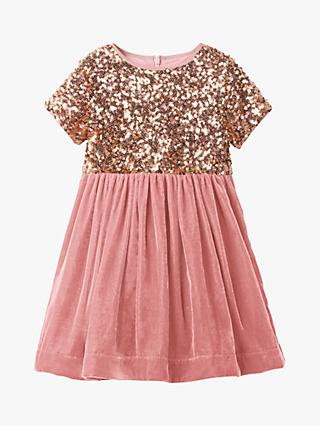 Mini Boden Girls' Velvet Sequin Party Dress, Vintage Pink