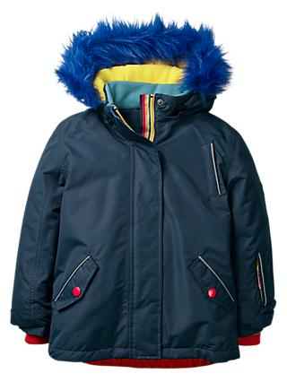 Mini Boden Girls All-Weather Waterproof Jacket, Navy Rainbow