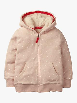 Mini Boden Girls' Printed Shaggy-Lined Hoodie, Pink Marl/Stars