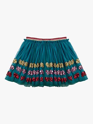 Mini Boden Girls' Appliqué Tulle Skirt, Blue