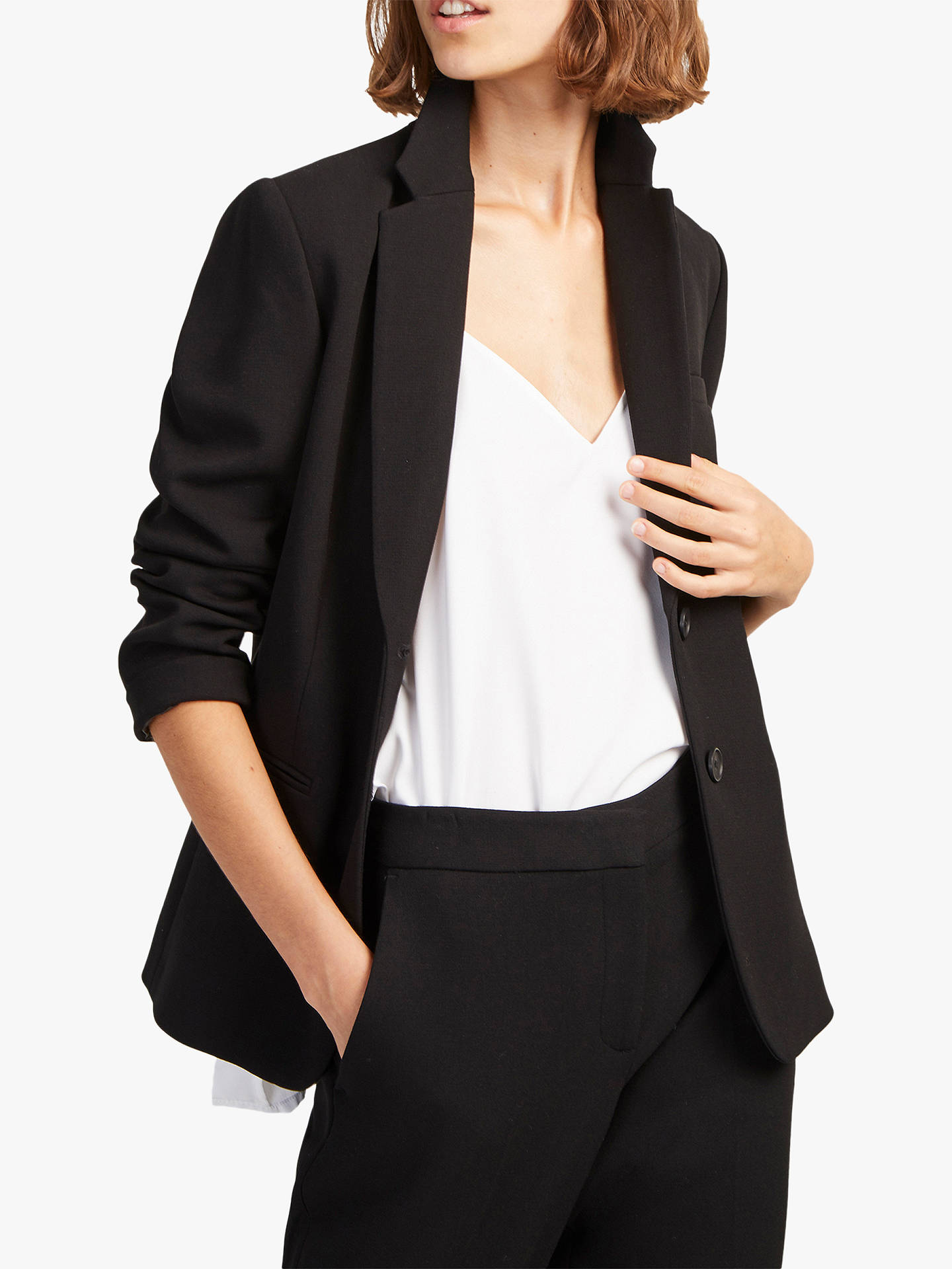 43f9750bd9c Buy French Connection Single Breasted Whisper Fitted Blazer, Black, 6  Online at johnlewis.