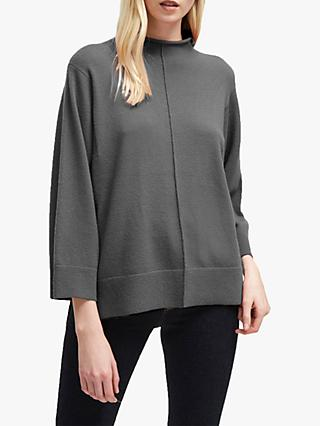 French Connection Ebba Vhari High Neck Rib Trim Jumper, Charcoal Grey Melange
