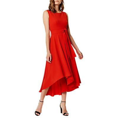 Karen Millen Asymmetric Belted Dress, Red Claret