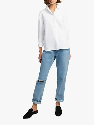 French Connection Oxford Boyfit Cotton Shirt, Winter White