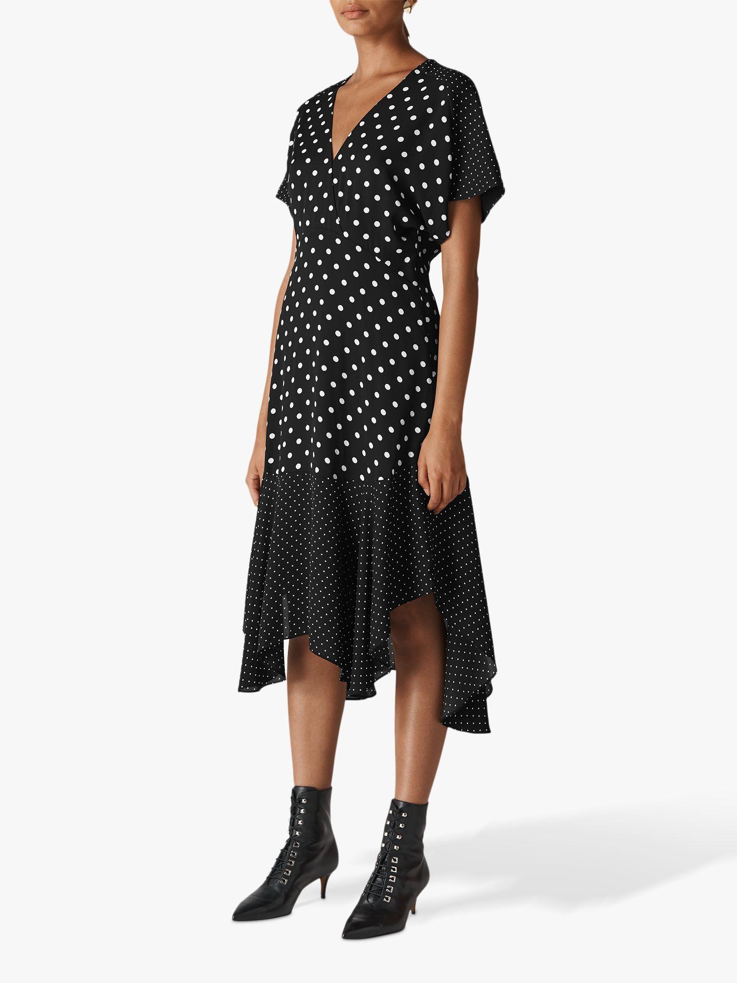 54439819016 Whistles Enise Multi Spot Dress, Black White at John Lewis   Partners