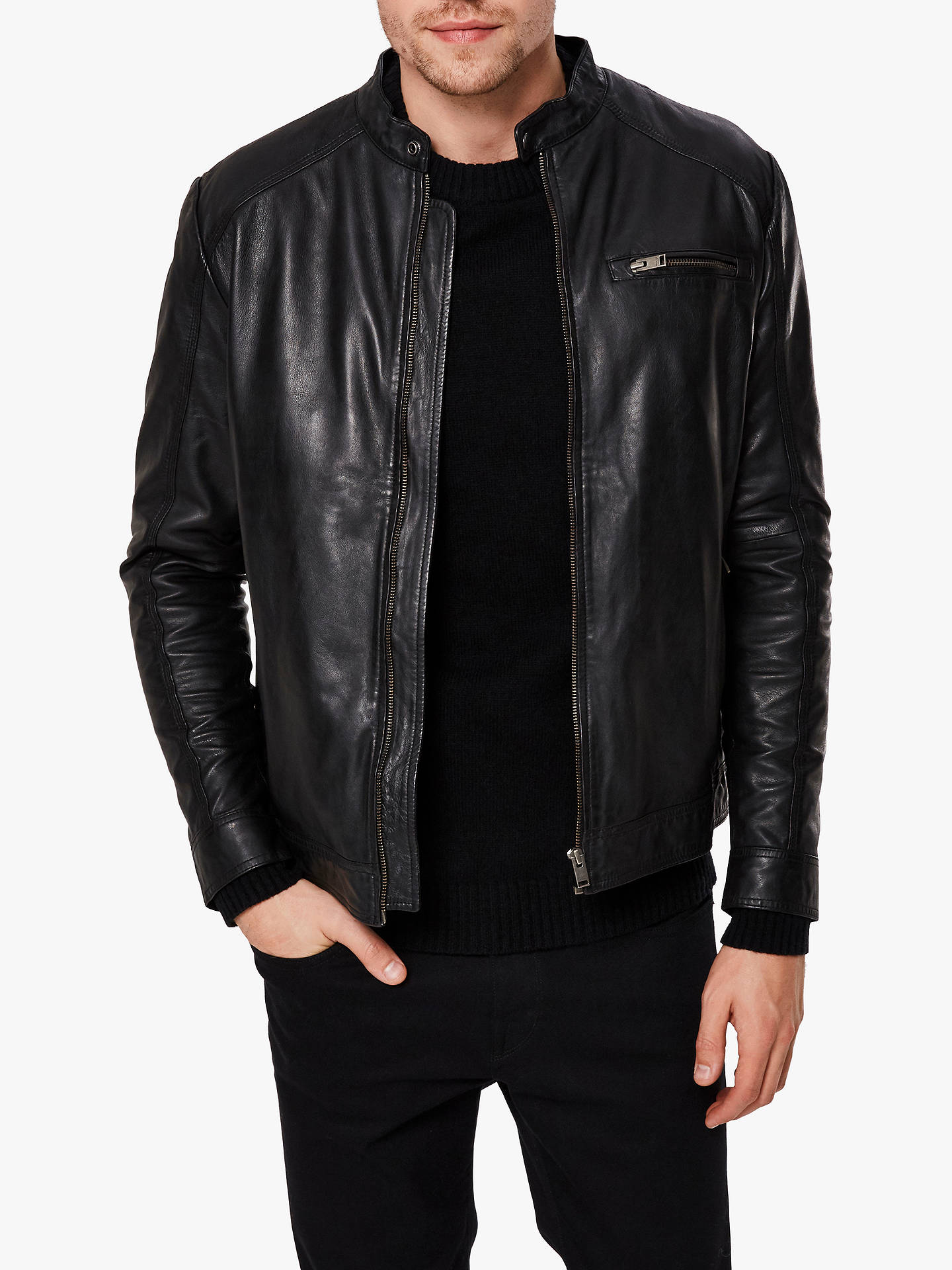 5358173fd SELECTED HOMME Classic Leather Jacket, Black