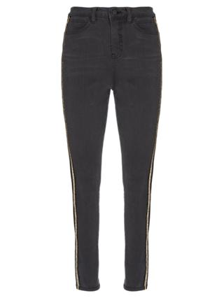 Mint Velvet Joliet Side Stripe Jean, Black