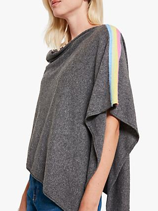 Mint Velvet Rainbow Stripe Poncho, Grey