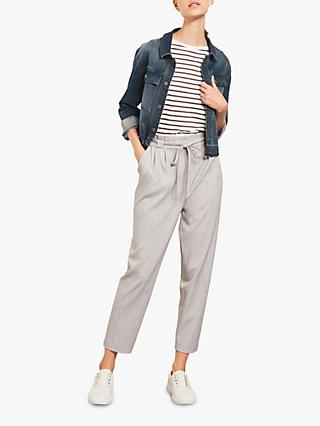 Mint Velvet Tie Waist Ankle Grazer Trousers, Light Grey