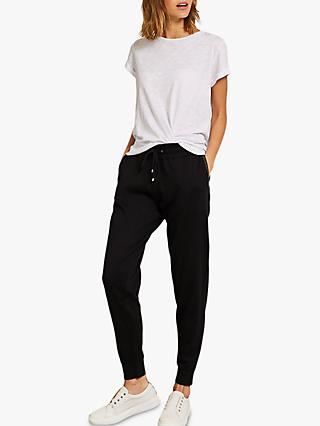 Mint Velvet Cashmere Loose Fit Metallic Detail Joggers, Black