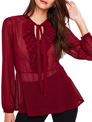 Damsel in a Dress Monzea Ruffle Blouse, Burgundy
