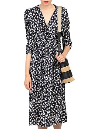 Jolie Moi Printed Knot Front Dress, Black Pattern