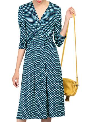 Jolie Moi Printed Knot Front Dress, Blue Pattern