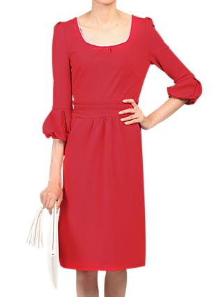 Jolie Moi Boat Neck Dress, Red