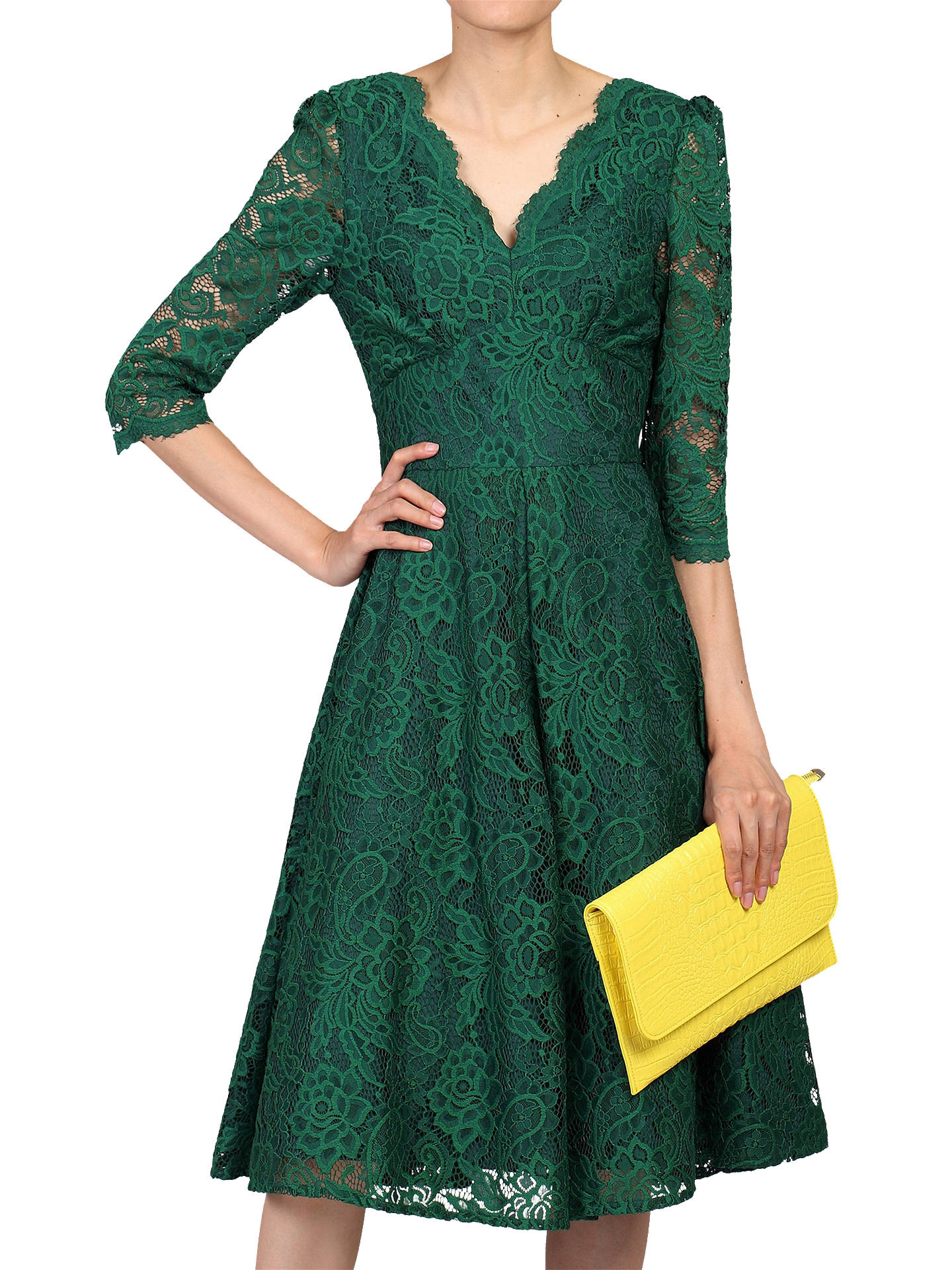 Buy Jolie Moi Three Quarter Sleeved Lace Dress, Green, 8 Online at johnlewis.com