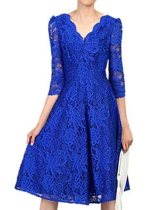 Jolie Moi Three Quarter Sleeved Lace Dress