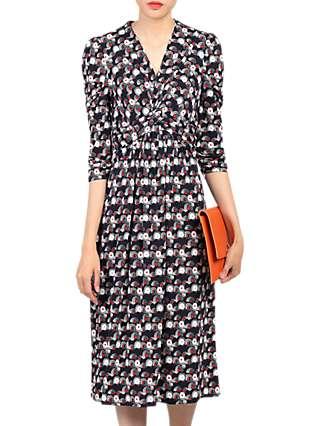 Jolie Moi Wrap Front Dress, Black/Multi