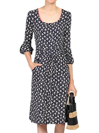 Jolie Moi Printed Three Quarter Sleeve Dress, Black Leafy