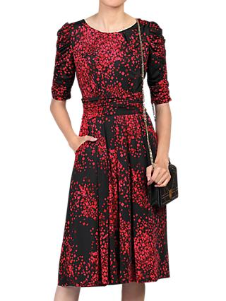 Jolie Moi Half Sleeve Dress, Black Pattern
