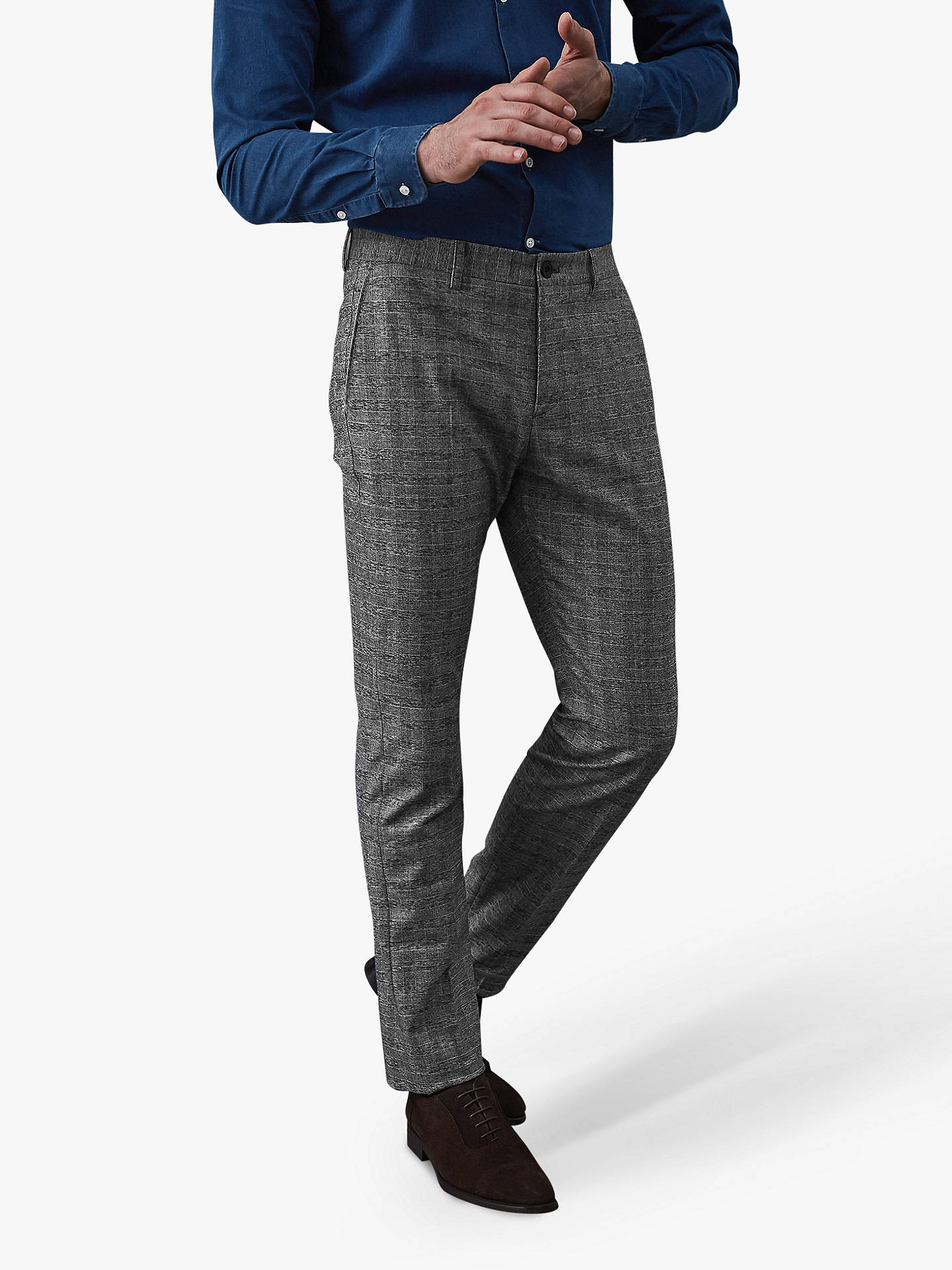 Buy Reiss Nano-Slim Fit Prince Trousers, Soft Grey, 30R Online at johnlewis.com