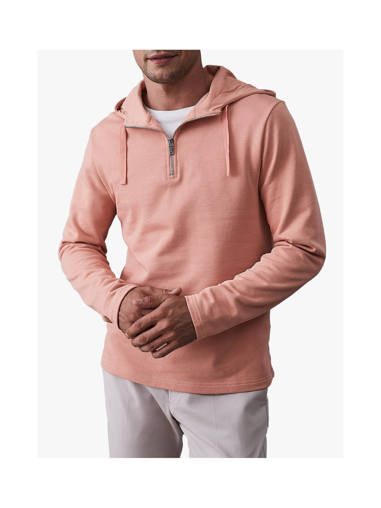 BuyReiss Kent Zip Neck Hoodie, Soft Pink, M Online at johnlewis.com