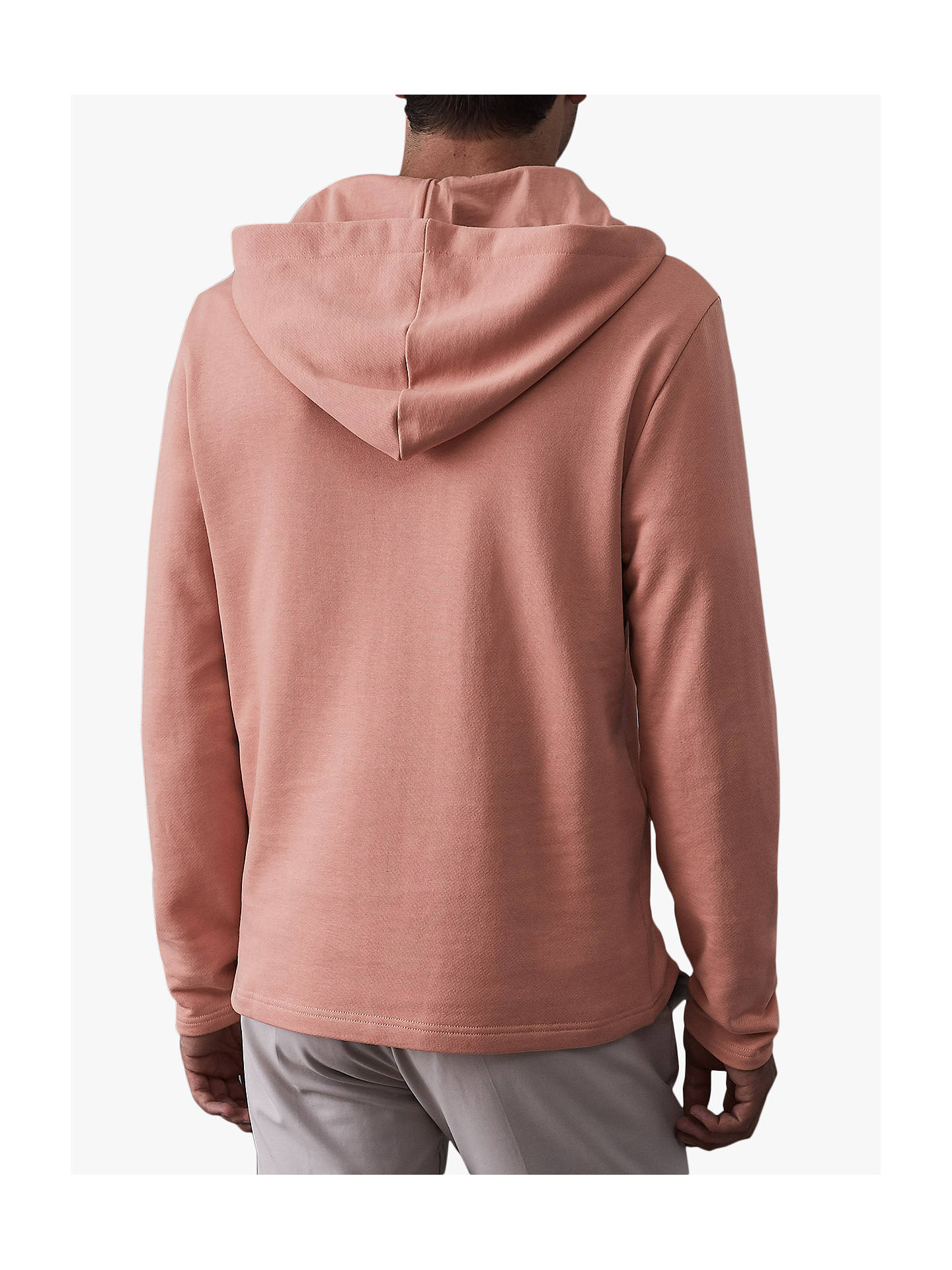 Buy Reiss Kent Zip Neck Hoodie, Soft Pink, M Online at johnlewis.com