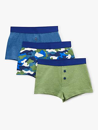 John Lewis & Partners Boys' Camo Print Boxers, Pack of 3, Blue/Green