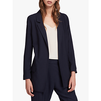 Allsaints Aleida Cotton Mix Blazer Jacket, Navy