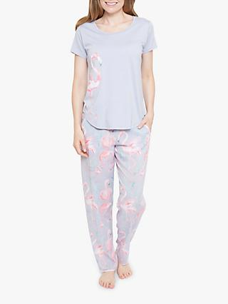 ee7a587d5722 Cyberjammies Zara Flamingo Short Sleeve Pyjama Set, Grey/Pink