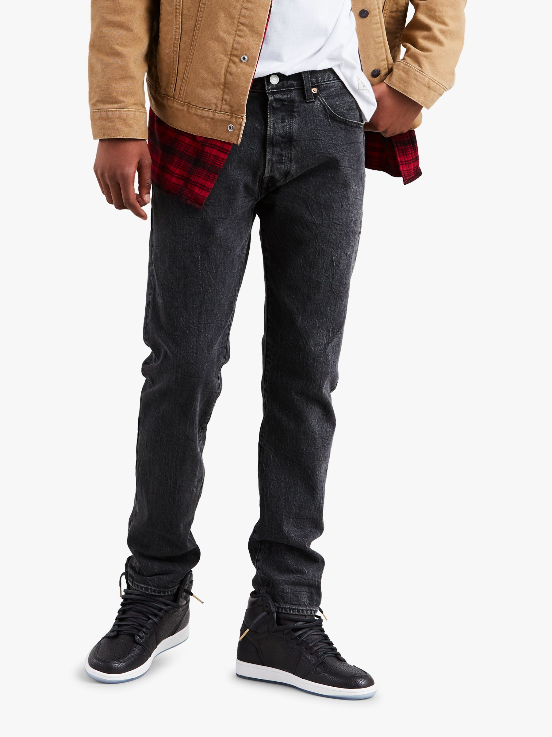 6f6a6eb0ad6 Levi's x Justin Timberlake 501 Slim Tapered Fit Jeans, Washed Black at John  Lewis & Partners
