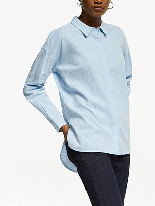 Buy John Lewis & Partners Seersucker Cotton Shirt, Pale Blue, 12 Online at johnlewis.com