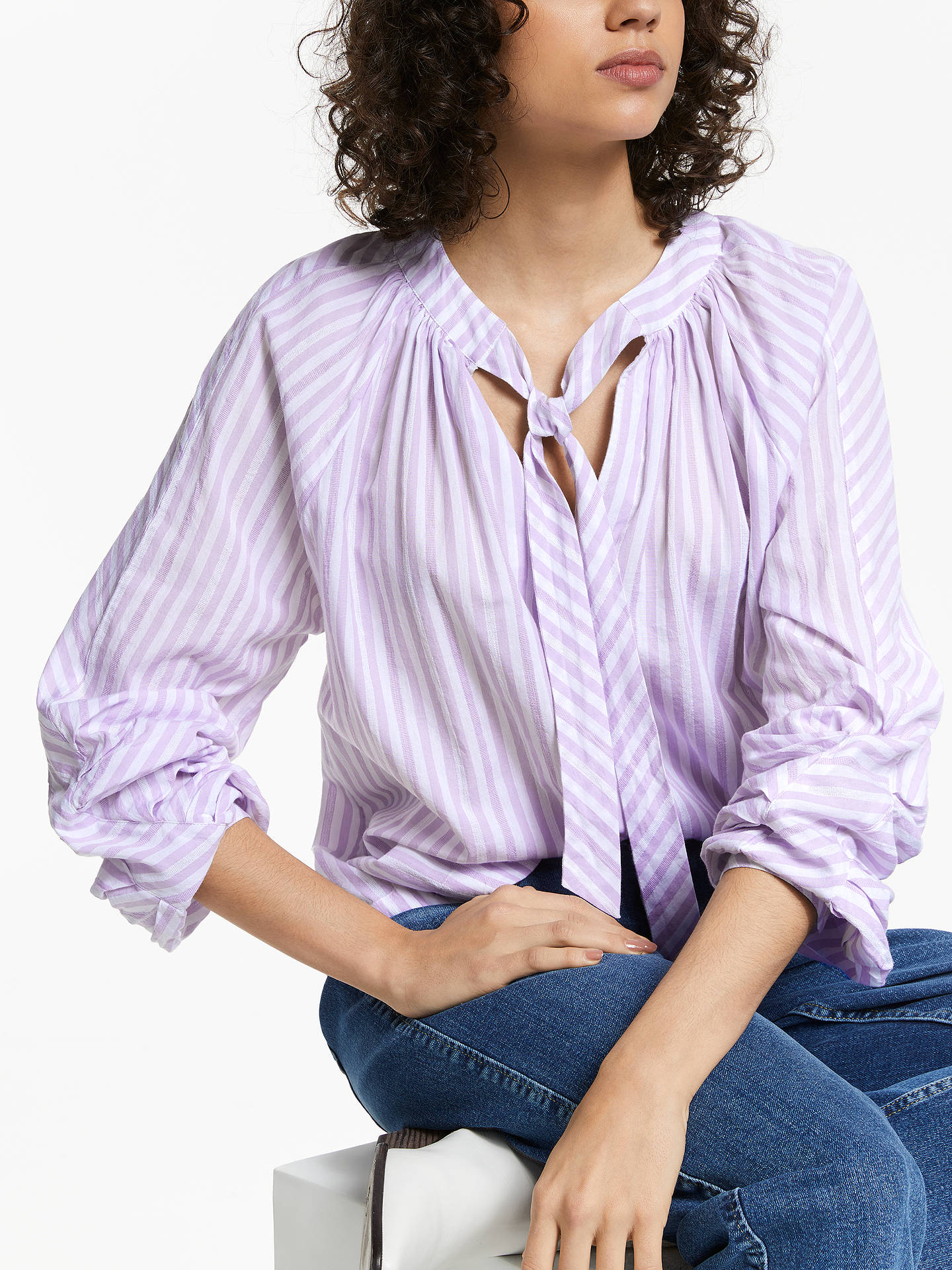 BuyAND/OR Leila Cotton Top, Soft Lilac/Ivory, 14 Online at johnlewis.com