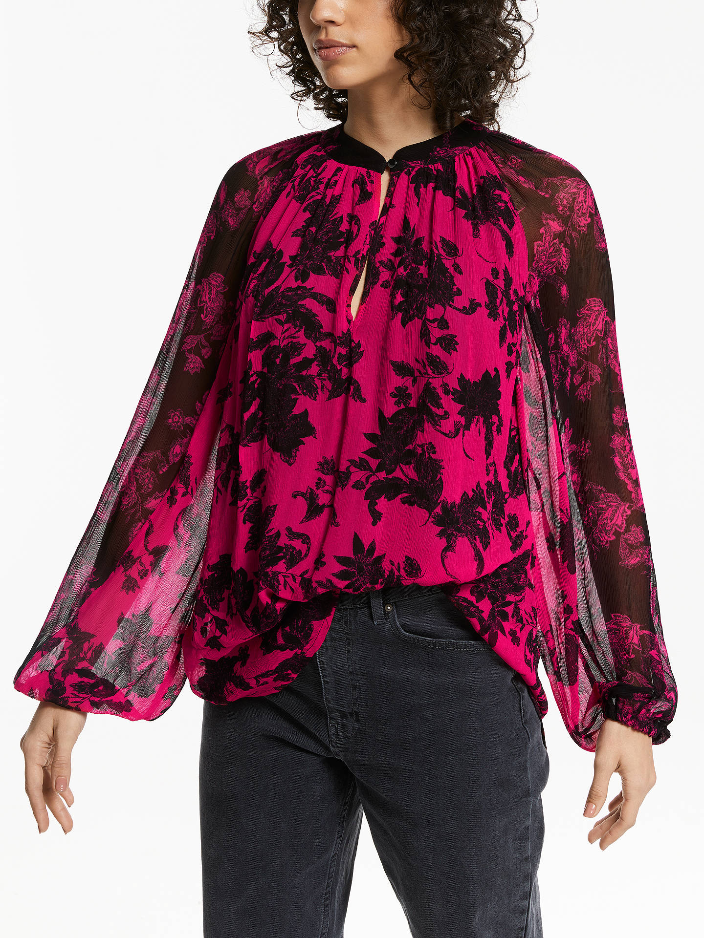 BuyAND/OR Adele High Neck 80s Floral Blouse, Multi/Pink, 16 Online at johnlewis.com