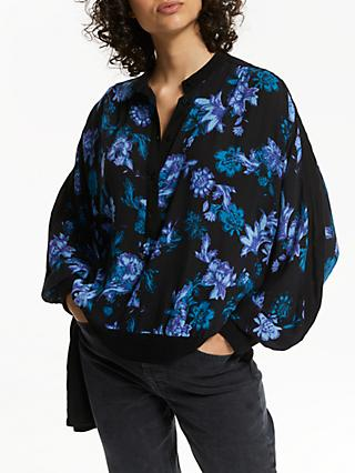 AND/OR Saffron Rio Floral Blouse, Black/Purple