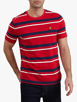 Lyle & Scott Short Sleeve Stripe T-Shirt, Dark Red